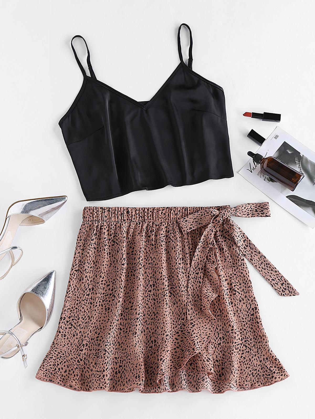 ZAFUL Leopard Ruffle Bowknot Mix and Match Skirt Set