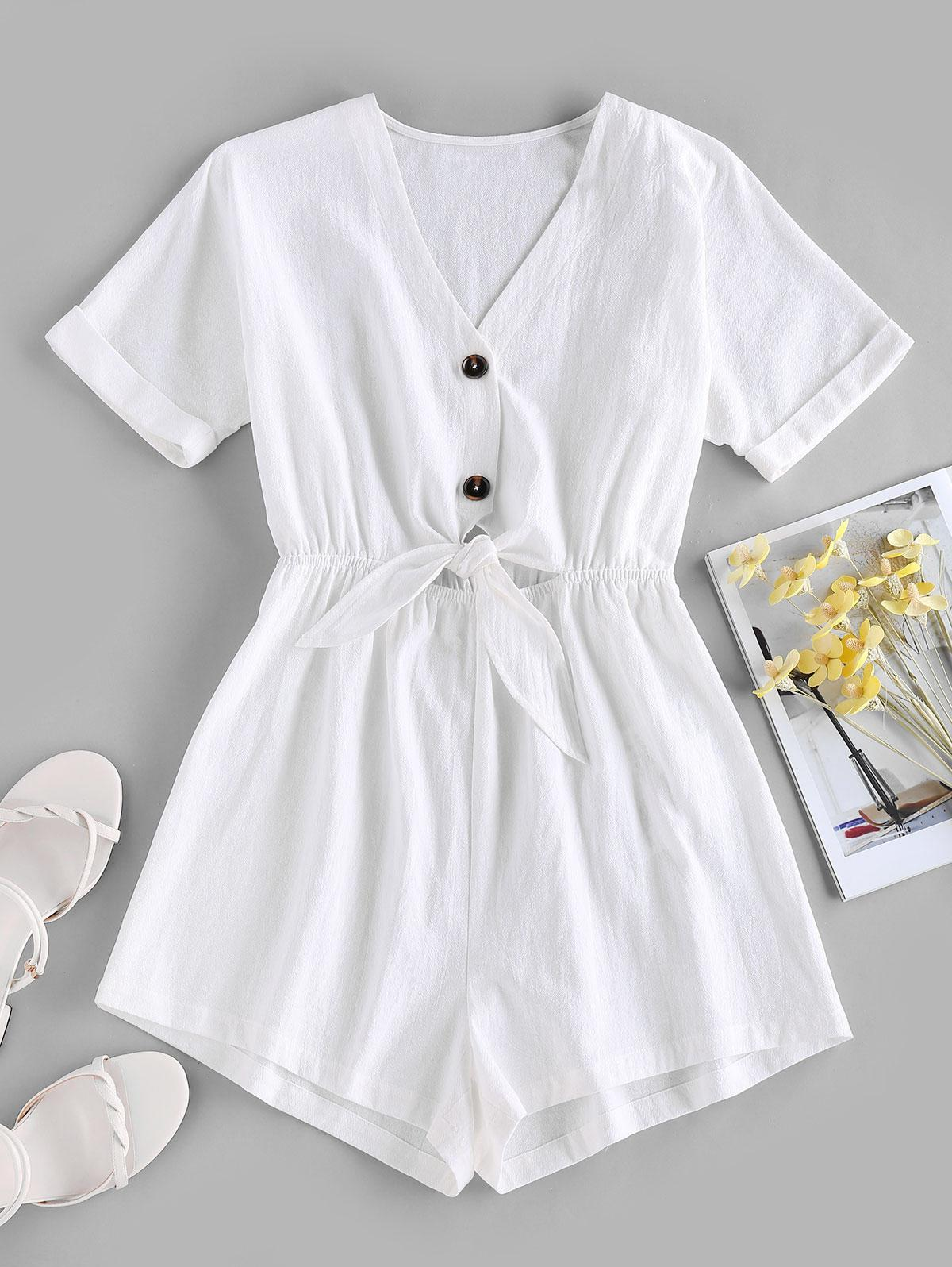 ZAFUL Tied V Neck Rolled Cuffs Wide Leg Romper