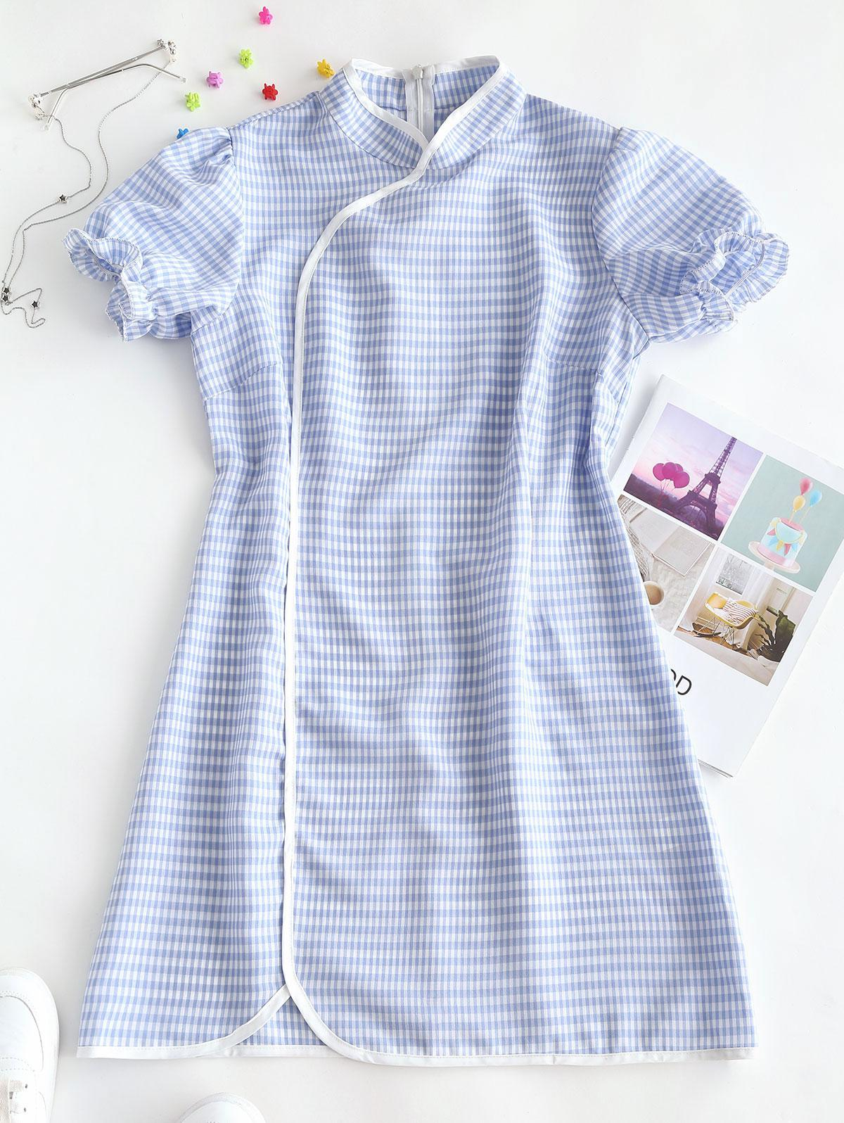 ZAFUL Plaid Puff Sleeve Oriental Cheongsam Dress