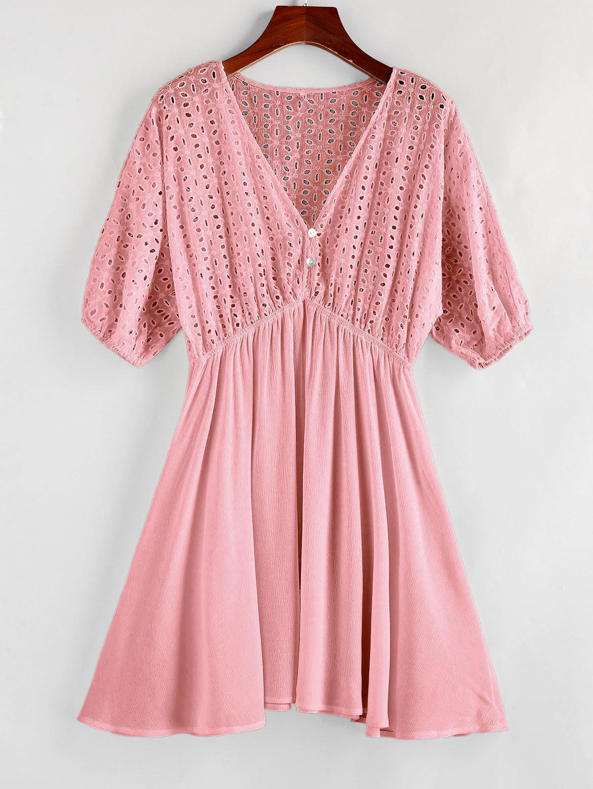 ZAFUL Eyelet Batwing Sleeve Plunging Mini Dress