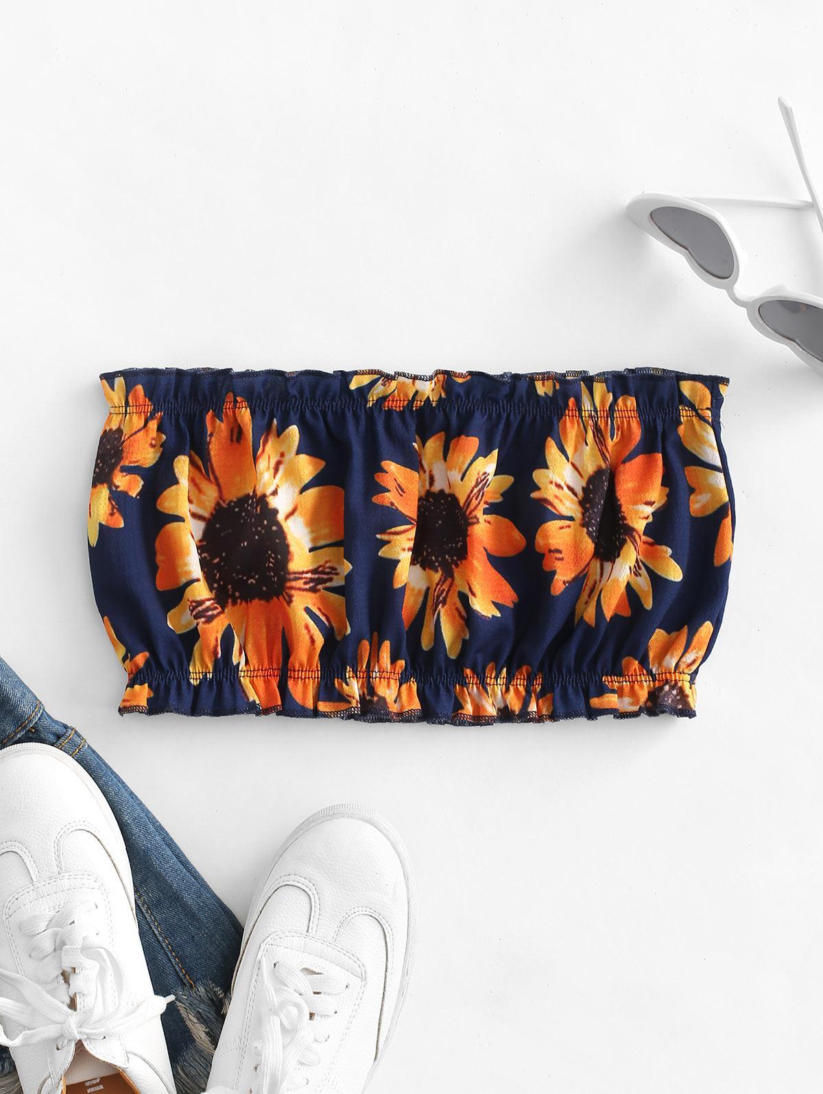 ZAFUL Sunflower Bandeau Top