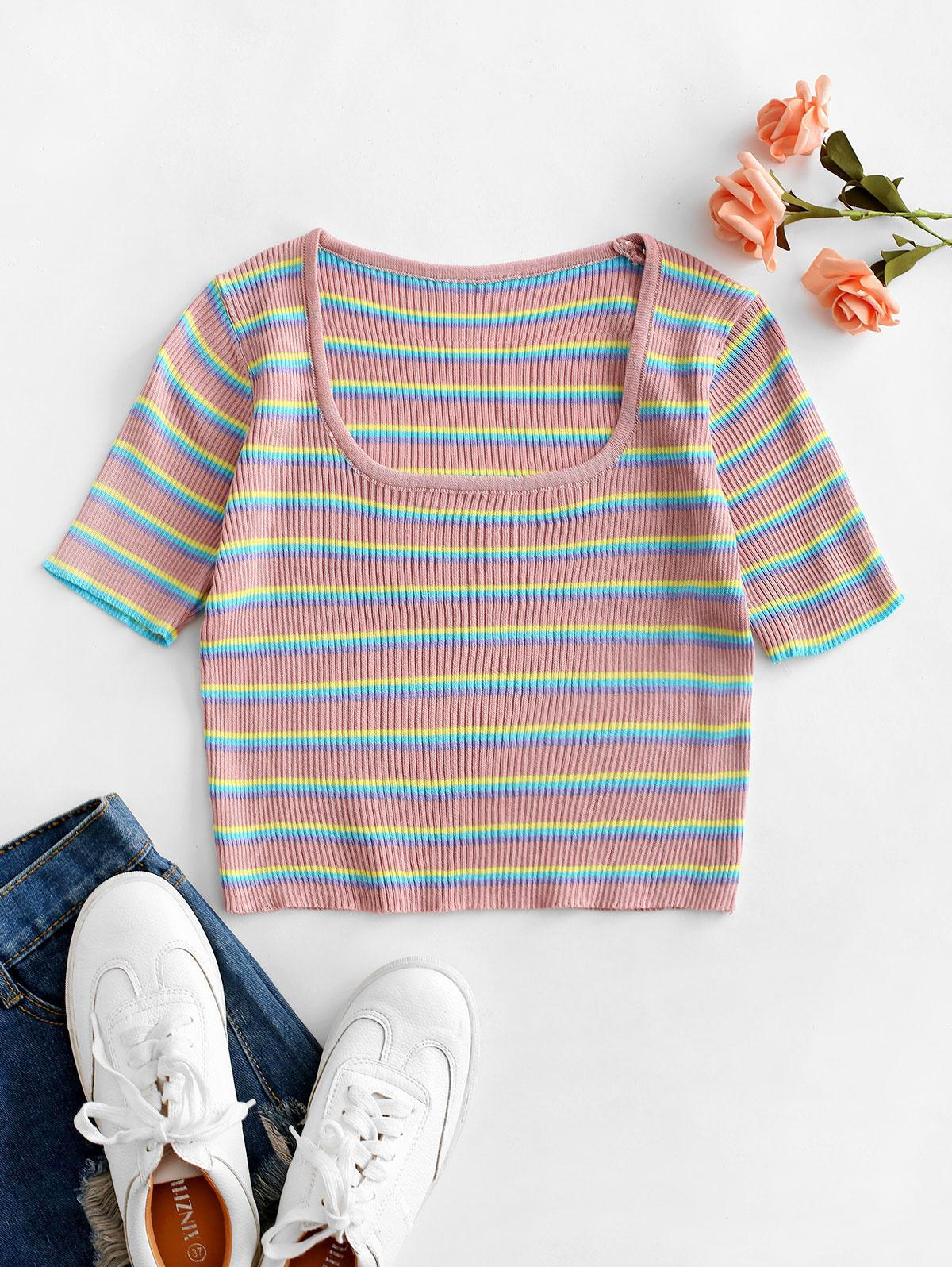 Striped Cropped Knitted Tee