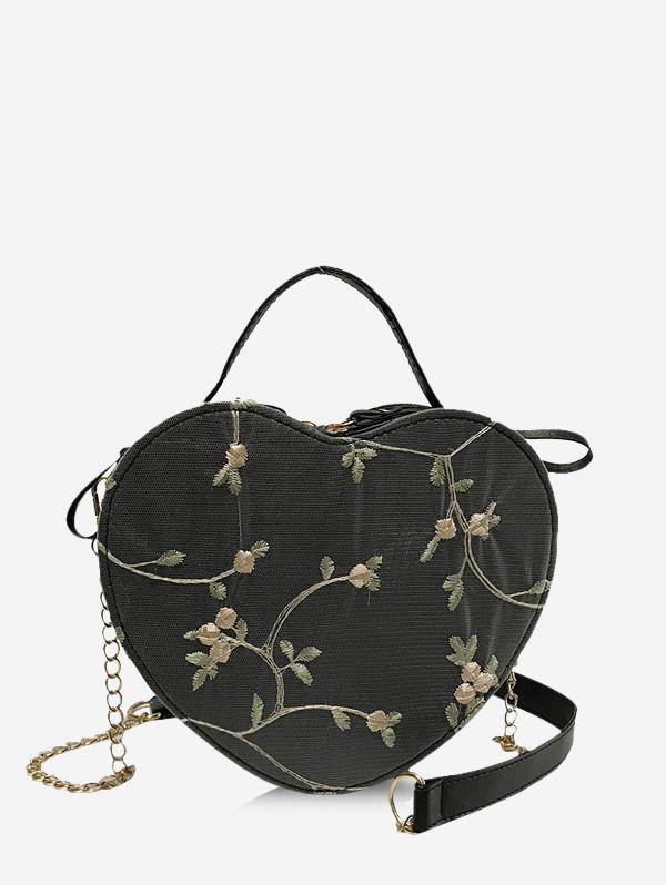 Heart Shape Embroidery Crossbody Bag