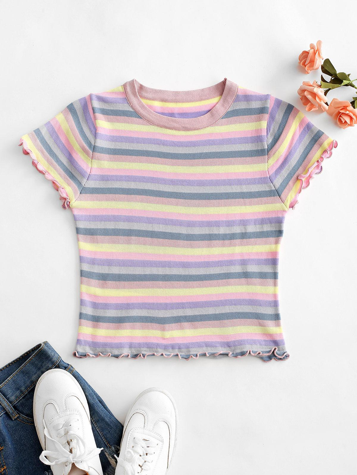 Lettuce Trim Colorful Striped T-shirt