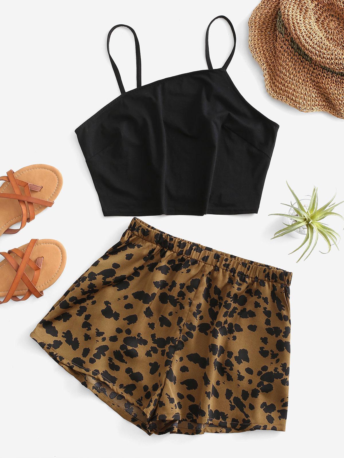 Leopard Pocket Wide Leg Shorts Set
