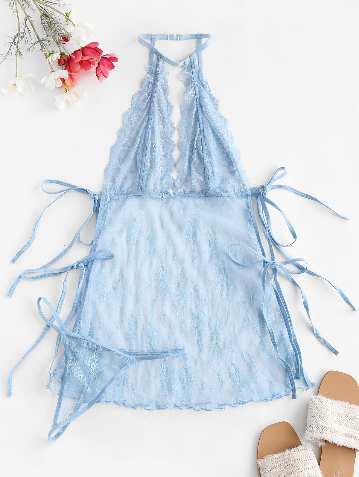 See Through Lace Side Lace Up Babydolls