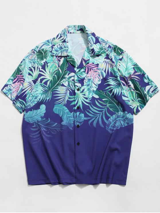 Tropisches Blattdruck Knopf Ferien Hemd - Blau XL