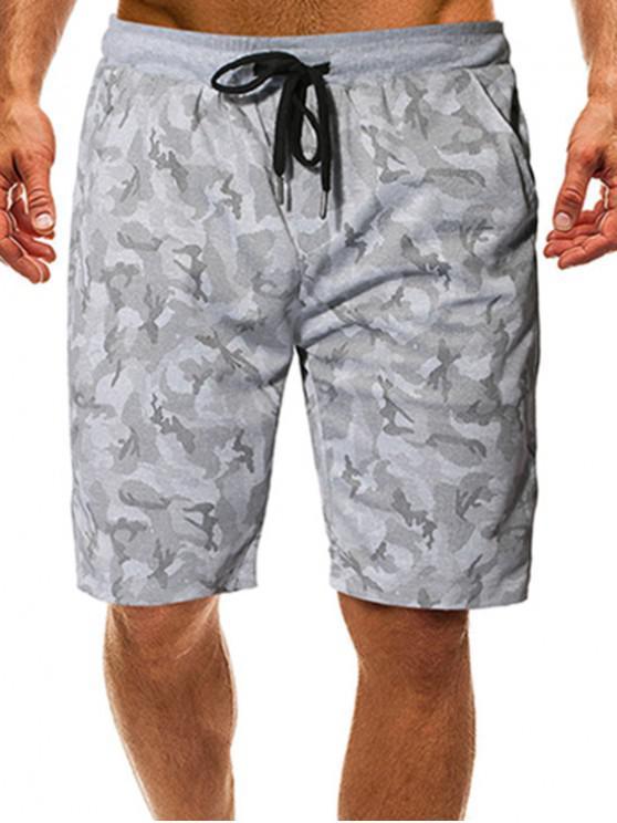 shop Camouflage Print Drawstring Graphic Shorts - GRAY 2XL