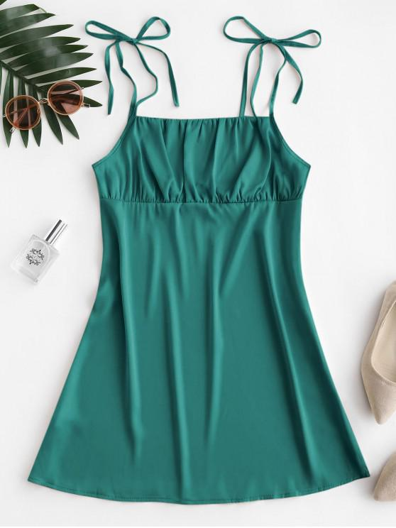 new Silky Ruched Front Tie Shoulder Mini Dress - GREENISH BLUE S