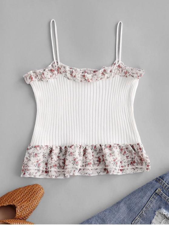 Chiffon Spitzenbesatz mit Blumendruck - Weiß Eine Größe