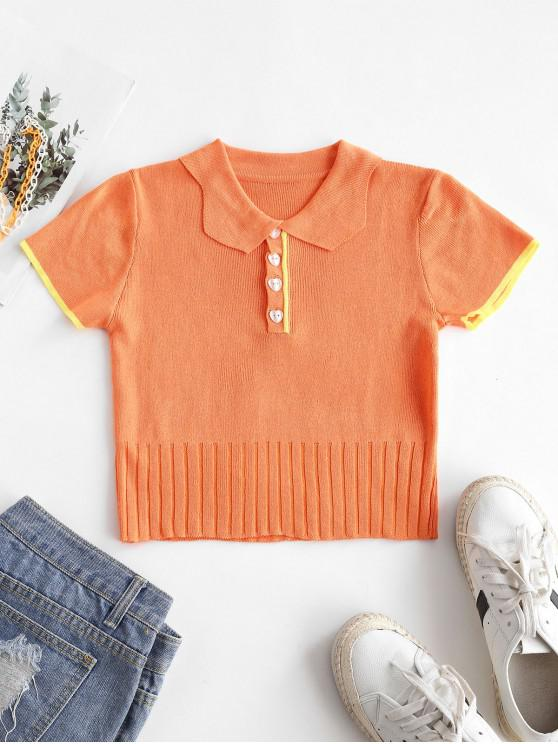 ladies Half Button Ribbed Cropped T-shirt - LIGHT SALMON ONE SIZE