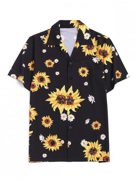Camisa de Vacaciones de Estampado de Girasol - Negro M