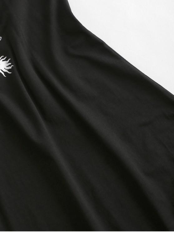 Cami Dragon Graphic Oriental Mini Dress - Black L | ZAFUL