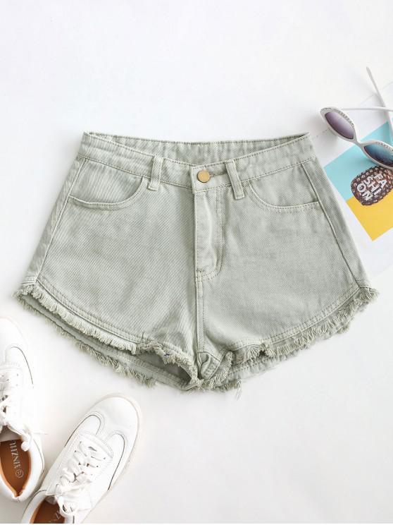 ladies Pockets Frayed Hem Denim Cutoff Shorts - DARK SEA GREEN XL