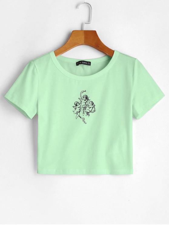 best ZAFUL Angel Graphic Crop Tee - MINT GREEN L