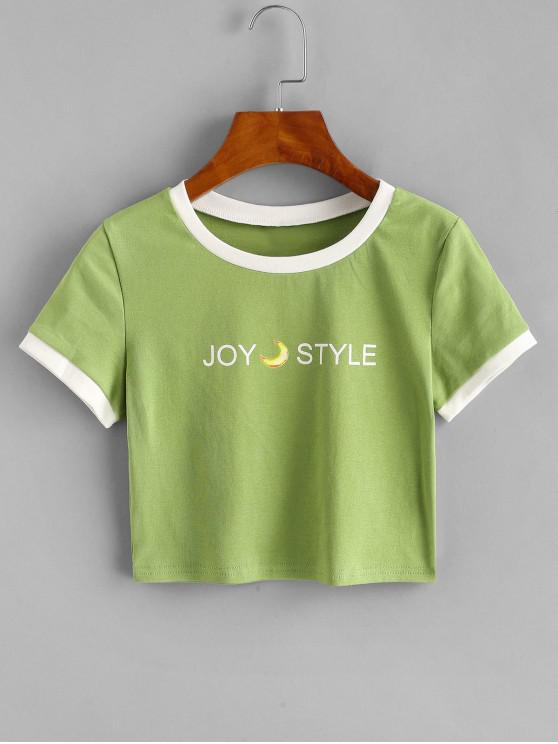 outfit Contrast Graphic Crop Top - GREEN ONE SIZE