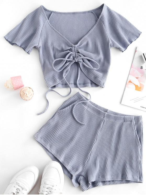 womens Textured Cinched Raglan Sleeve Loose Shorts Set - BABY BLUE S