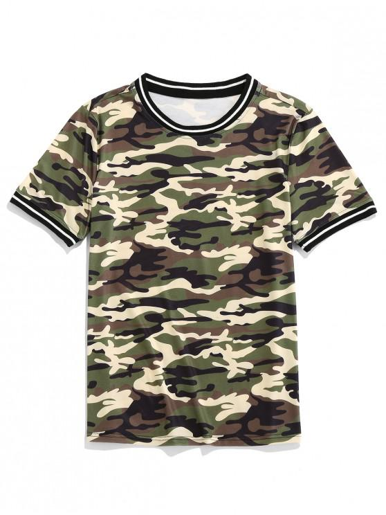 chic ZAFUL Camo Print Short Sleeves Casual T-shirt - WOODLAND CAMOUFLAGE 2XL