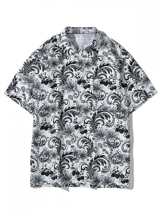 online Flower Allover Print Pocket Button Shirt - BATTLESHIP GRAY 2XL