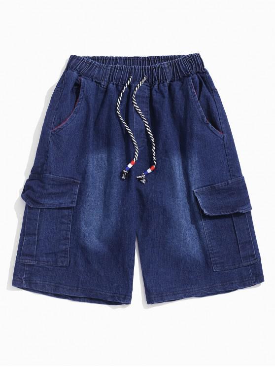 Flap Pockets Drawstring Cargo Jean Shorts - الدينيم الأزرق الداكن 3XL