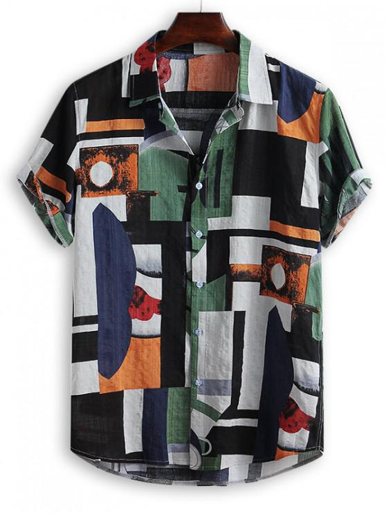 ladies Geometric Spliced Print Button Down Shirt - MULTI-B 3XL