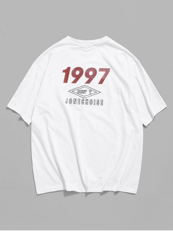 online Short Sleeve Letter Graphic Print Basic T-shirt - WHITE 2XL