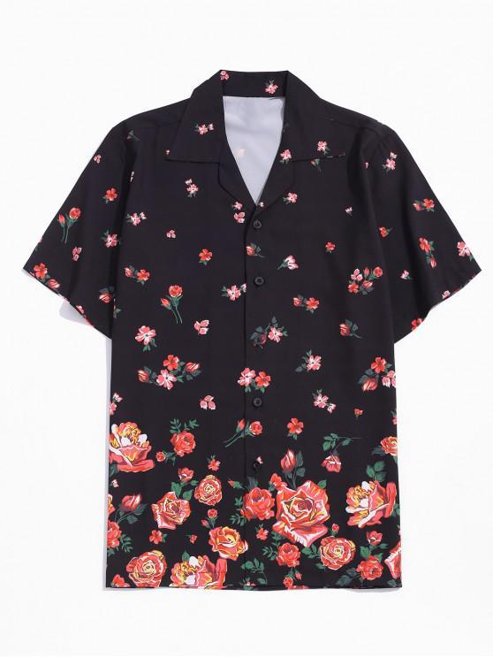 womens Flower Print Button Vacation Shirt - BLACK 2XL
