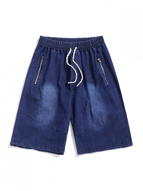 Short Zippé en Couleur Unie à Cordon en Jean - Bleu Foncé Toile de Jean 2XL