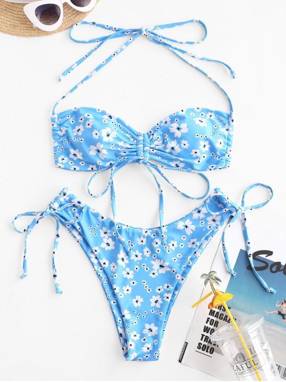 ZAFUL Ditsy Print cinched convertibil Bikini Costume de baie - Albastru deschis L