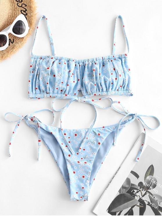 ZAFUL Ditsydruck Geraffte Bikini Badebekleidung - Hellblau L