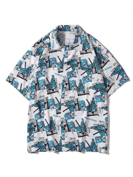 buy Short Sleeve Graphic Print Pocket Shirt - DODGER BLUE 2XL