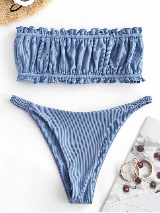 ZAFUL Ribbed Ruffle High Leg Bandeau Bikini Swimwear - الحرير الأزرق L