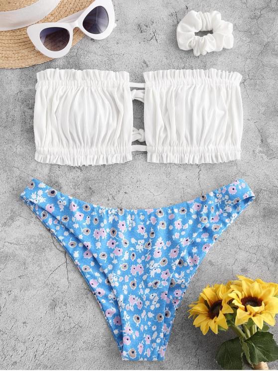 new ZAFUL Ribbed Flower Ruched Bandeau Bikini Swimwear with Scrunchie - WHITE L