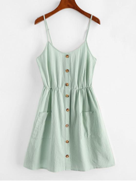 best ZAFUL Smocked Mock Button Cami Pocket Dress - BLUE HOSTA L