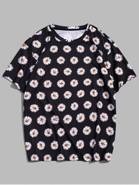 Flower Printed Casual Short Sleeves T-shirt - أسود L