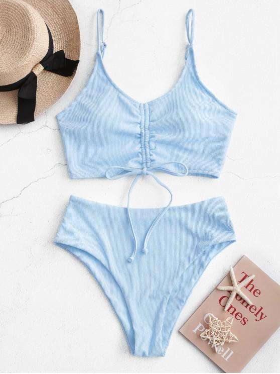 ZAFUL Ribbed Cinched High Waisted Tankini Swimsuit - ضوء السماء الزرقاء L