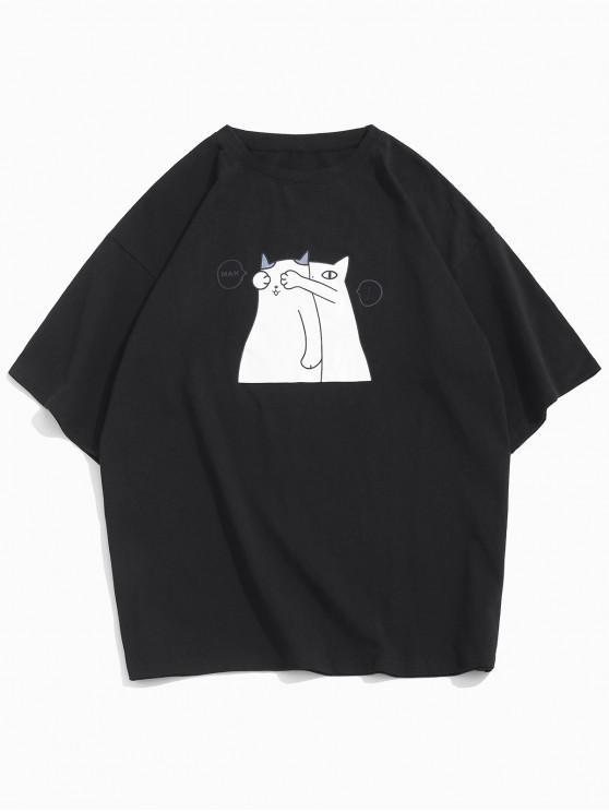 Cartoon Cat Graphic Basic T-shirt - أسود XS