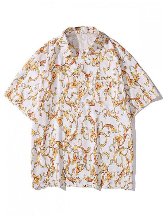Baroque Flower Print Pocket Button Shirt - أبيض L