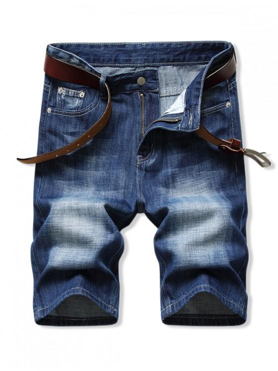 Solid Color Zip Fly Denim Shorts - الدينيم الأزرق الداكن 32
