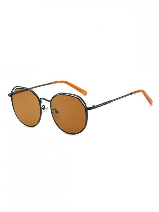 shops Metal Geometric Hollow Sunglasses - BROWN