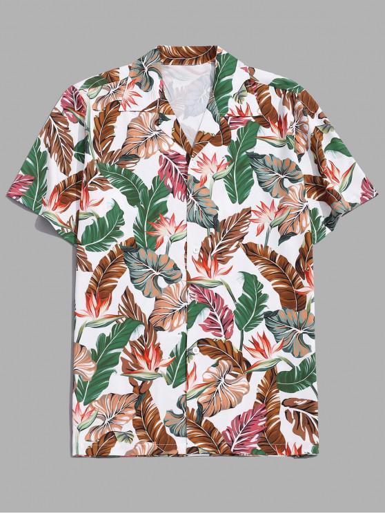 best Tropical Flower Leaf Print Vacation Shirt - SEA GREEN 2XL