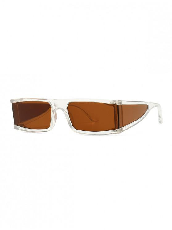 new One-piece Outdoor Rectangle Sunglasses - BROWN
