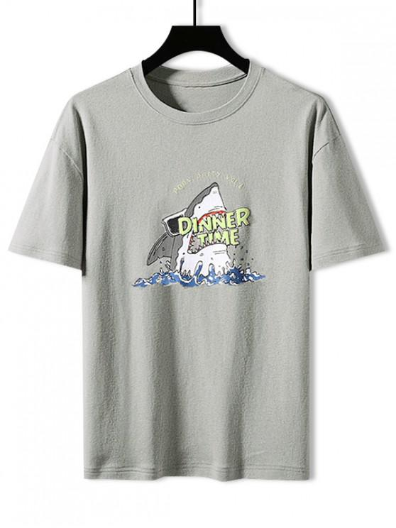 fancy Shark Dinner Time Graphic Basic T-shirt - LIGHT GRAY 3XL