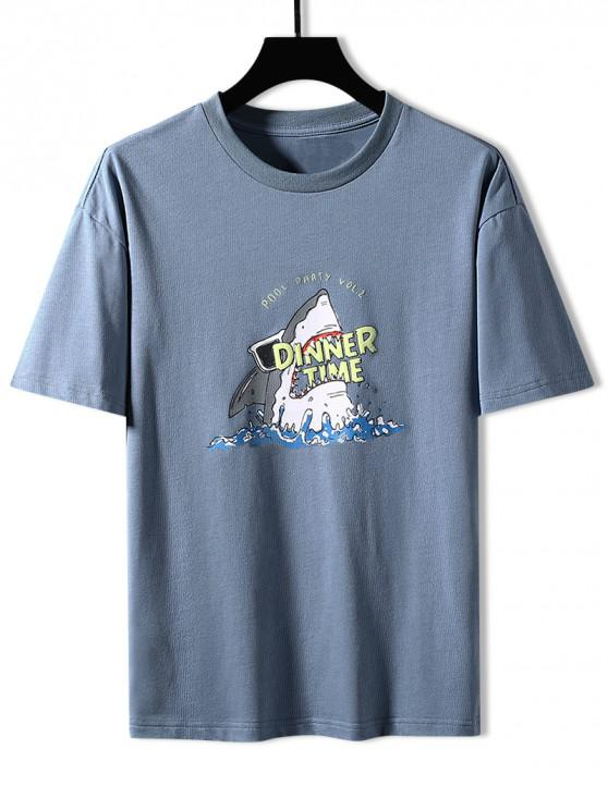 Shark Dinner Time Graphic Basic T-shirt - ضباب أزرق 3XL