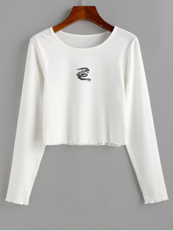fancy ZAFUL Dragon Print Ribbed Long Sleeve T-shirt - WHITE S