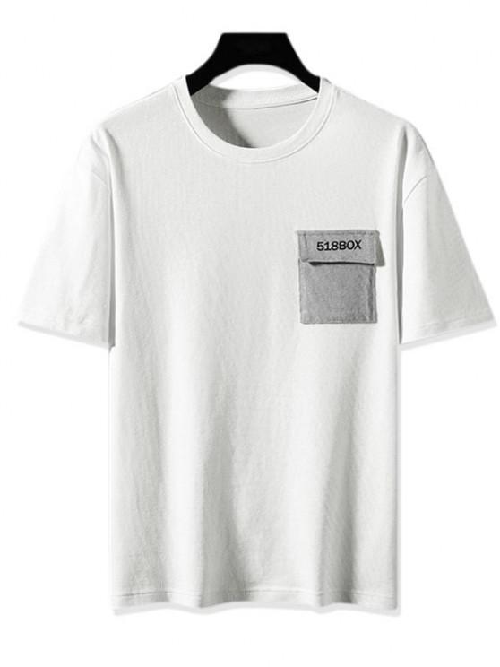Farbblock T-Shirt mit Grafikdruck - Weiß 2XL
