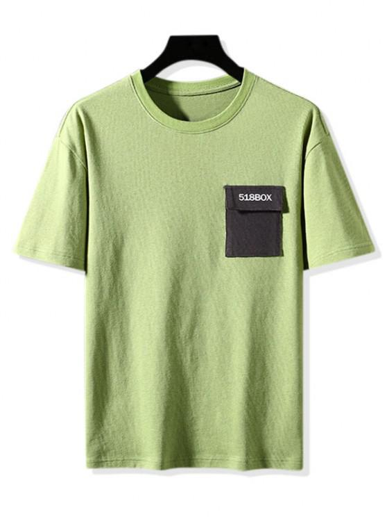 new Colorblock Pocket Graphic Print Basic T-shirt - GREEN 3XL