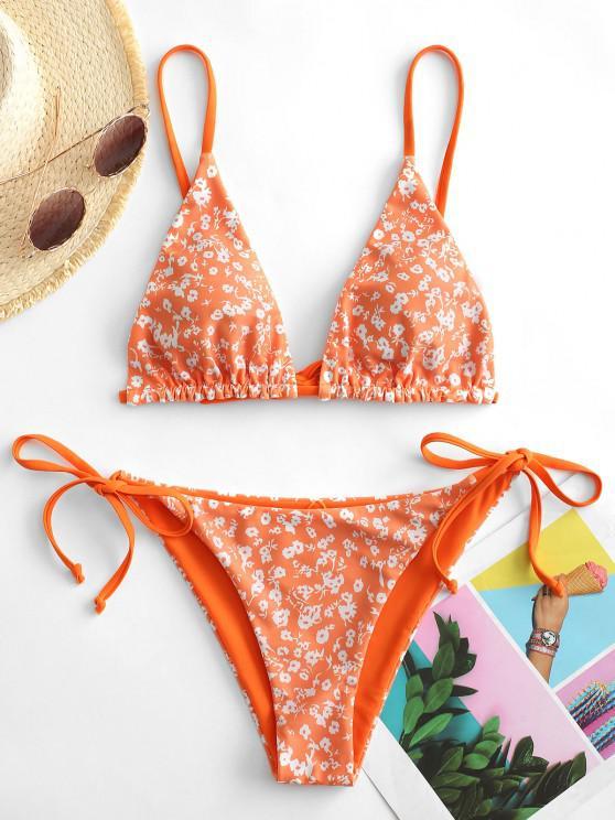 women's ZAFUL Floral Or Orange Reversible String Bikini Set - PUMPKIN ORANGE M