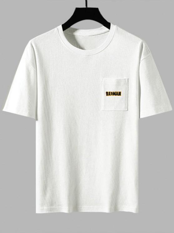 Badman Karikatur-Druck-Taschen-Flecken Basic T-Shirt - Weiß 2XL