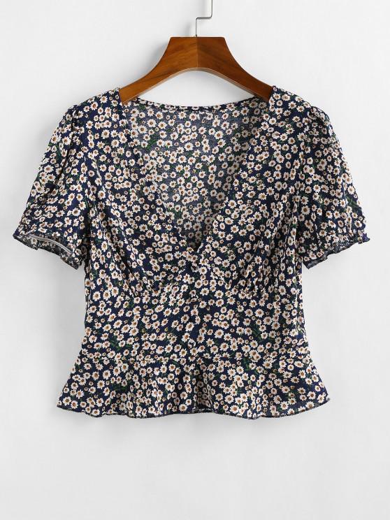 fancy ZAFUL Ditsy Floral Flounce Short Sleeve Blouse - DEEP BLUE L
